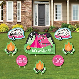 Let's Go Glamping - Yard Sign & Outdoor Lawn Decorations - Camp Glamp Party or Birthday Party Yard Signs - Set of 8