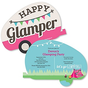 Let's Go Glamping - Shaped Camp Glamp Invitations - Set of 12
