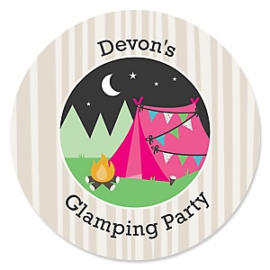 Let's Go Glamping - Personalized Camp Glamp Party or Birthday Party Sticker Labels - 24 ct