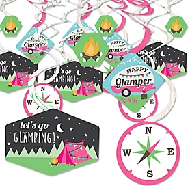Let's Go Glamping - Camp Glamp Party or Birthday Party Hanging Decor - Party Decoration Swirls - Set of 40