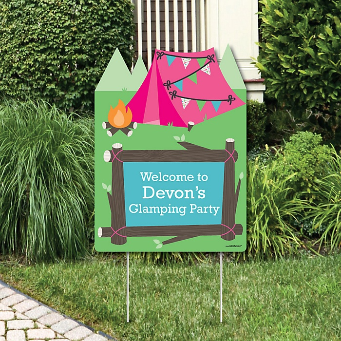 Let's Go Glamping - Party Decorations - Camp Glamp Party or Birthday Party Personalized Welcome Yard Sign
