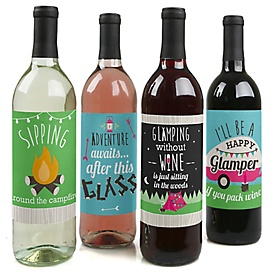 Let's Go Glamping - Camp Glamp Party or Birthday Party Decorations for Women and Men - Wine Bottle Label Stickers - Set of 4