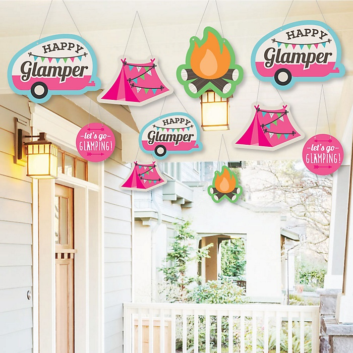 Hanging Let's Go Glamping - Outdoor Camp Glamp Party or Birthday Party Hanging Porch & Tree Yard Decorations - 10 Pieces