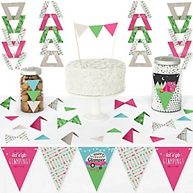 Let's Go Glamping - DIY  Pennant Banner Decorations - Camp Glamp Party or Birthday Party Triangle Kit - 99 Pieces
