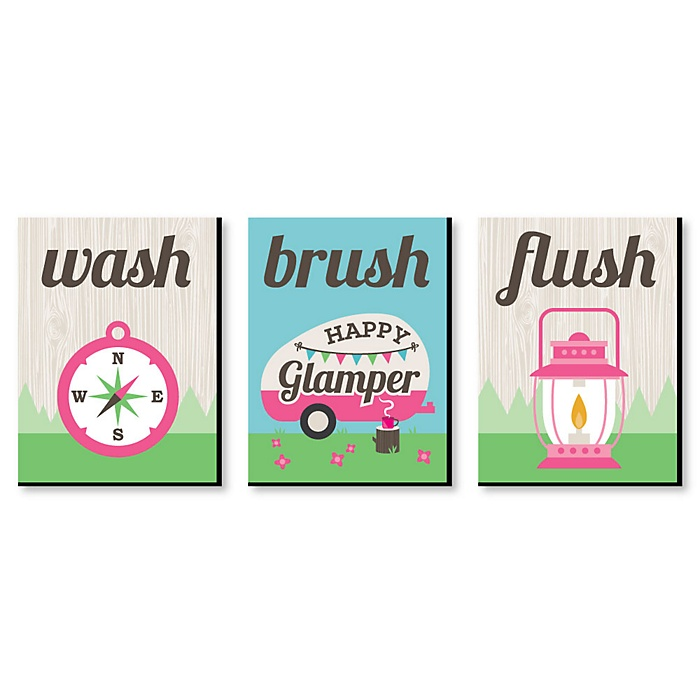 Let's Go Glamping - Kids Bathroom Rules Wall Art - 7.5 x 10 inches - Set of 3 Signs - Wash, Brush, Flush