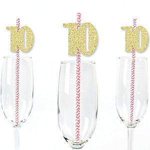 Gold Glitter 10 Party Straws - No-Mess Real Gold Glitter Cut-Out Numbers & Decorative 10th Birthday Party Paper Straws - Set of 24