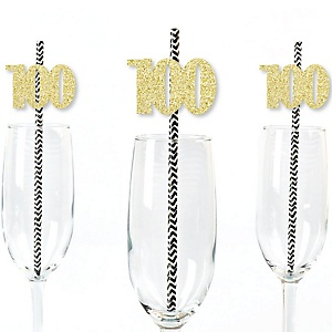 Gold Glitter 100 Party Straws - No-Mess Real Gold Glitter Cut-Out Numbers & Decorative 100th Birthday Party Paper Straws - Set of 24