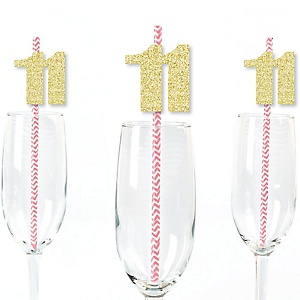 Gold Glitter 11 Party Straws - No-Mess Real Gold Glitter Cut-Out Numbers & Decorative 11th Birthday Party Paper Straws - Set of 24