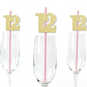 Gold Glitter 12 Party Straws - No-Mess Real Gold Glitter Cut-Out Numbers & Decorative 12th Birthday Party Paper Straws - Set of 24
