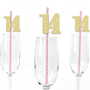 Gold Glitter 14 Party Straws - No-Mess Real Gold Glitter Cut-Out Numbers & Decorative 14th Birthday Party Paper Straws - Set of 24