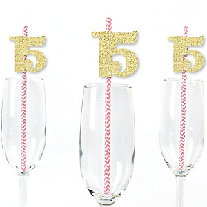 Gold Glitter 15 Party Straws - No-Mess Real Gold Glitter Cut-Out Numbers & Decorative 15th Birthday Party Paper Straws - Set of 24