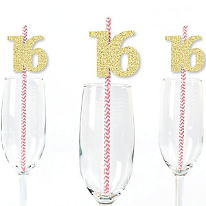 Gold Glitter 16 Party Straws - No-Mess Real Gold Glitter Cut-Out Numbers & Decorative 16th Birthday Party Paper Straws - Set of 24