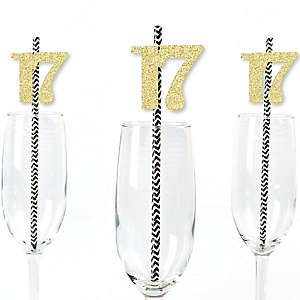Gold Glitter 17 Party Straws - No-Mess Real Gold Glitter Cut-Out Numbers & Decorative 17th Birthday Party Paper Straws - Set of 24