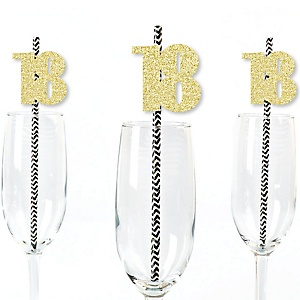 Gold Glitter 18 Party Straws - No-Mess Real Gold Glitter Cut-Out Numbers & Decorative 18th Birthday Party Paper Straws - Set of 24