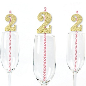 Gold Glitter 2 Party Straws - No-Mess Real Gold Glitter Cut-Out Numbers & Decorative 2nd Birthday Party Paper Straws - Set of 24