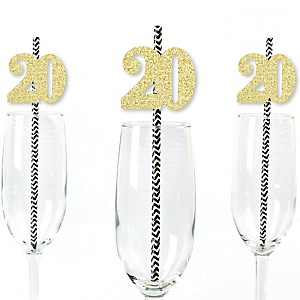 Gold Glitter 20 Party Straws - No-Mess Real Gold Glitter Cut-Out Numbers & Decorative 20th Birthday Party Paper Straws - Set of 24