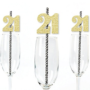 Gold Glitter 21 Party Straws - No-Mess Real Gold Glitter Cut-Out Numbers & Decorative 21st Birthday Party Paper Straws - Set of 24