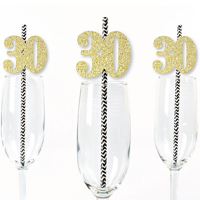 Gold Glitter 30 Party Straws - No-Mess Real Gold Glitter Cut-Out Numbers & Decorative 30th Birthday Party Paper Straws - Set of 24