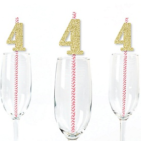 Gold Glitter 4 Party Straws - No-Mess Real Gold Glitter Cut-Out Numbers & Decorative 4th Birthday Party Paper Straws - Set of 24