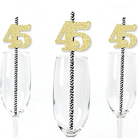Gold Glitter 45 Party Straws - No-Mess Real Gold Glitter Cut-Out Numbers & Decorative 45th Birthday Party Paper Straws - Set of 24