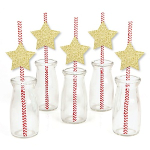 Gold Glitter Star Party Straws - No-Mess Real Gold Glitter Cut-Outs & Decorative Party Paper Straws - Set of 24