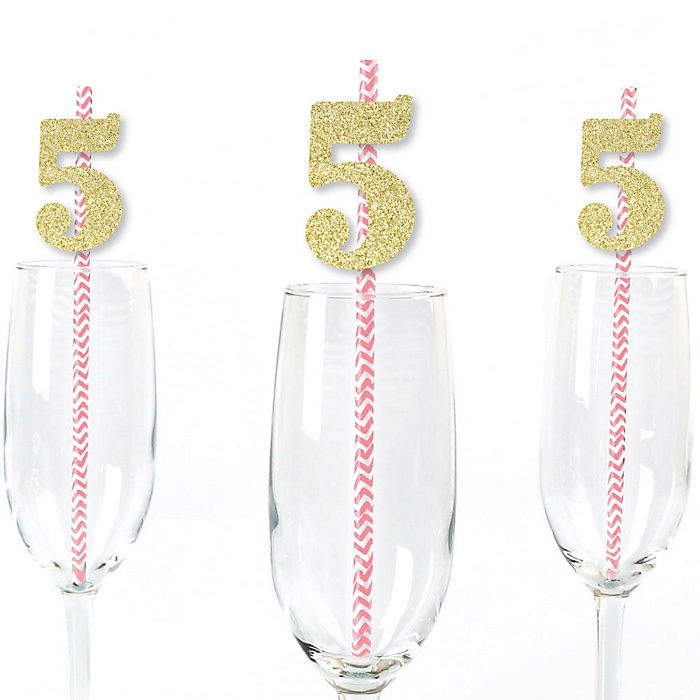 Gold Glitter 5 Party Straws - No-Mess Real Gold Glitter Cut-Out Numbers & Decorative 5th Birthday Party Paper Straws - Set of 24