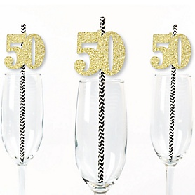 Gold Glitter 50 Party Straws - No-Mess Real Gold Glitter Cut-Out Numbers & Decorative 50th Birthday Party Paper Straws - Set of 24