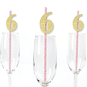 Gold Glitter 6 Party Straws - No-Mess Real Gold Glitter Cut-Out Numbers & Decorative 6th Birthday Party Paper Straws - Set of 24
