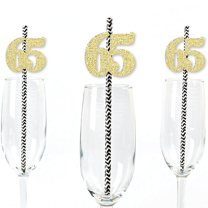 Gold Glitter 65 Party Straws - No-Mess Real Gold Glitter Cut-Out Numbers & Decorative 65th Birthday Party Paper Straws - Set of 24
