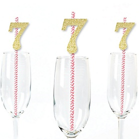 Gold Glitter 7 Party Straws - No-Mess Real Gold Glitter Cut-Out Numbers & Decorative 7th Birthday Party Paper Straws - Set of 24