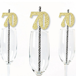 Gold Glitter 70 Party Straws - No-Mess Real Gold Glitter Cut-Out Numbers & Decorative 70th Birthday Party Paper Straws - Set of 24