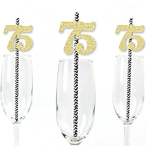 Gold Glitter 75 Party Straws - No-Mess Real Gold Glitter Cut-Out Numbers & Decorative 75th Birthday Party Paper Straws - Set of 24