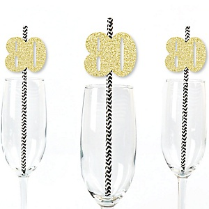Gold Glitter 80 Party Straws - No-Mess Real Gold Glitter Cut-Out Numbers & Decorative 80th Birthday Party Paper Straws - Set of 24