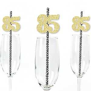 Gold Glitter 85 Party Straws - No-Mess Real Gold Glitter Cut-Out Numbers & Decorative 85th Birthday Party Paper Straws - Set of 24