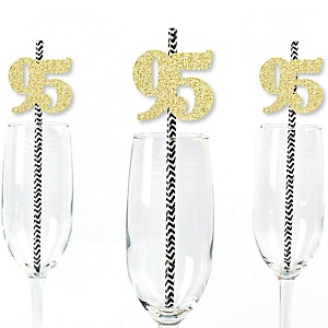 Gold Glitter 95 Party Straws - No-Mess Real Gold Glitter Cut-Out Numbers & Decorative 95th Birthday Party Paper Straws - Set of 24