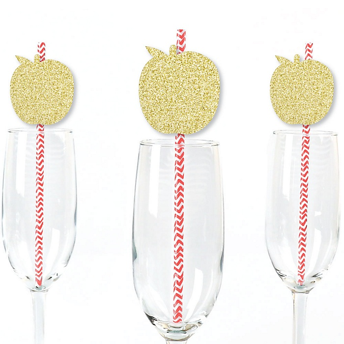 Gold Glitter Apple Party Straws - No-Mess Real Gold Glitter Cut-Outs & Decorative Jewish New Year Paper Straws - Set of 24