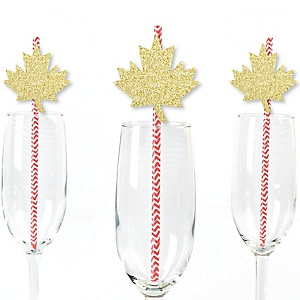 Gold Glitter Maple Leaf Party Straws - No-Mess Real Gold Glitter Cut-Outs & Decorative Canada Day Paper Straws - Set of 24