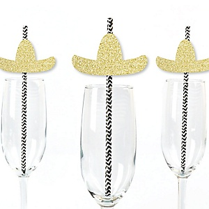 Gold Glitter Sombrero Party Straws - No-Mess Real Gold Glitter Cut-Outs & Decorative Mexican Fiesta Paper Straws - Set of 24