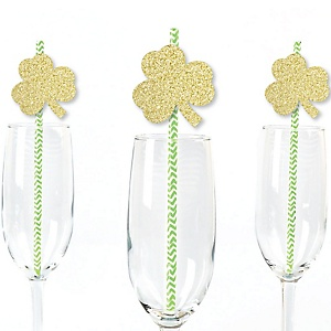 Gold Glitter Shamrocks Party Straws - No-Mess Real Gold Glitter Cut-Outs & Decorative St. Patrick's Day Party Paper Straws - Set of 24
