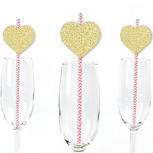 Gold Glitter Hearts Party Straws - No-Mess Real Gold Glitter Cut-Outs & Decorative Valentine's Day Party Paper Straws - Set of 24