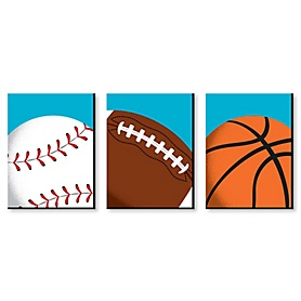 Go, Fight, Win - Sports Themed Nursery Wall Art, Kids Room Decor and Game Room Home Decorations - 7.5 x 10 inches - Set of 3 Prints