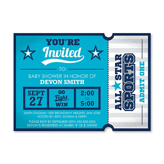 Go, Fight, Win - Sports - Shaped Baby Shower Invitations - Set of 12