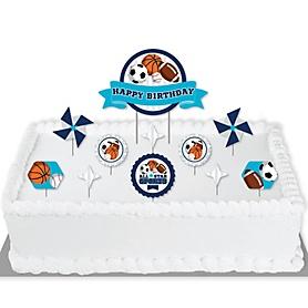 Go, Fight, Win - Sports - Birthday Party Cake Decorating Kit - Happy Birthday Cake Topper Set - 11 Pieces