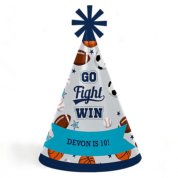 Go, Fight, Win - Sports - Personalized Cone  Happy Birthday Party Hats for Kids and Adults - Set of 8 (Standard Size)