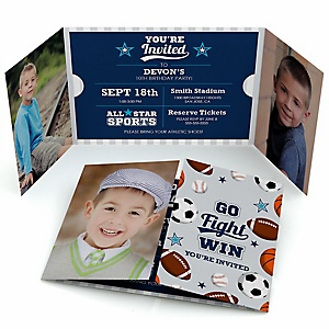Go, Fight, Win - Sports - Personalized  Birthday Party Photo Invitations - Set of 12