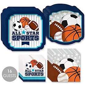 Go, Fight, Win - Sports - Baby Shower or Birthday Party Tableware Plates and Napkins - Bundle for 16
