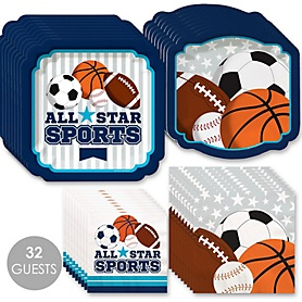 Go, Fight, Win - Sports - Baby Shower or Birthday Party Tableware Plates and Napkins - Bundle for 32