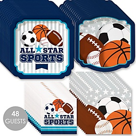 Go, Fight, Win - Sports - Baby Shower or Birthday Party Tableware Plates and Napkins - Bundle for 48