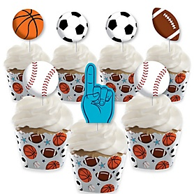 Go, Fight, Win - Sports - Cupcake Decoration - Baby Shower or Birthday Party Cupcake Wrappers and Treat Picks Kit - Set of 24