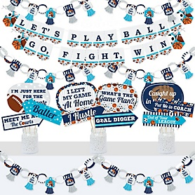 Go, Fight, Win - Sports - Banner and Photo Booth Decorations - Baby Shower or Birthday Party Supplies Kit - Doterrific Bundle